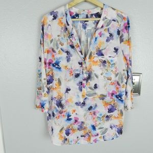 NYDJ Watercolor Floral Henley 3/4 Sleeve Blouse L